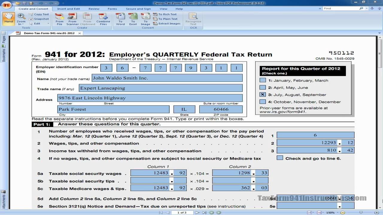 How to fill out tax form 941 intro video youtube falaconquin