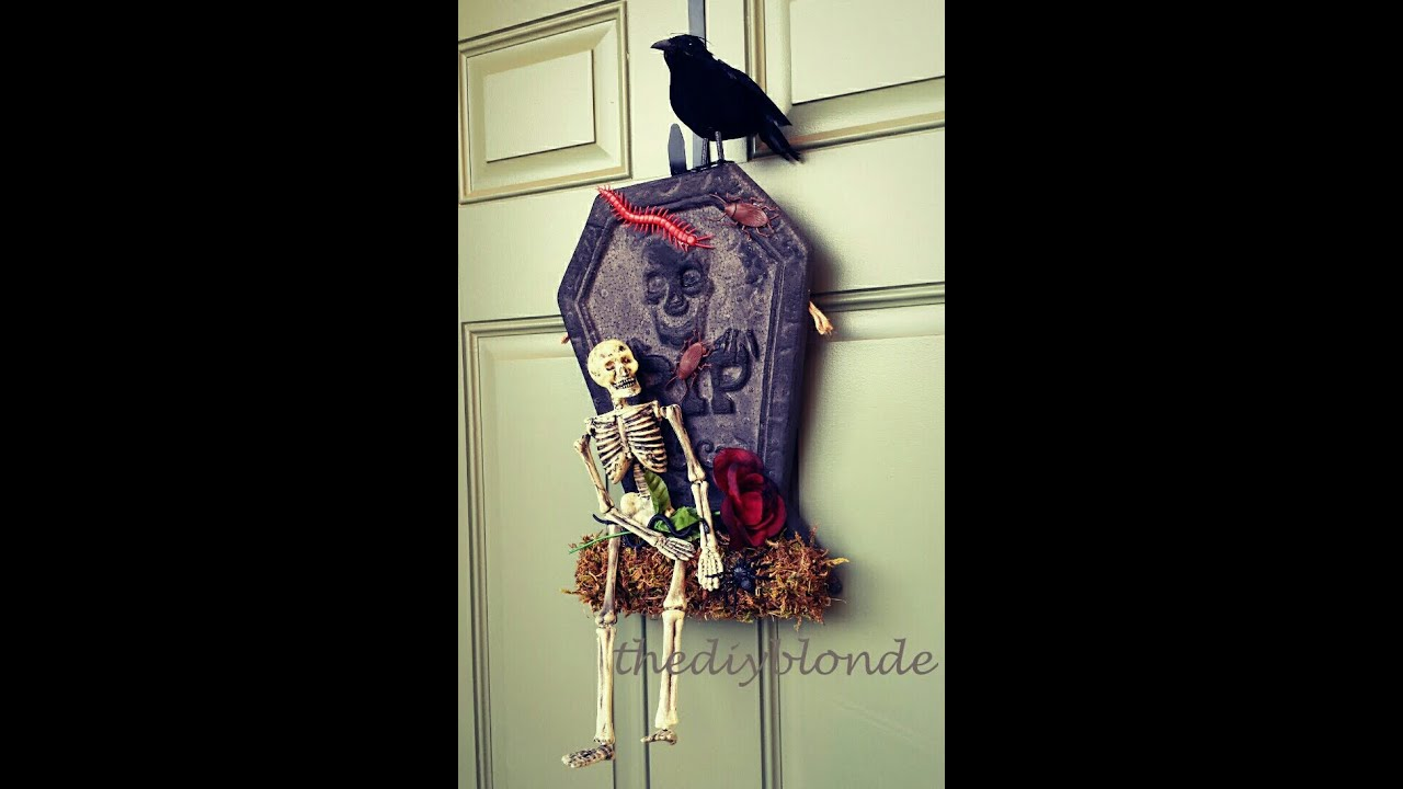 Easy DIY Halloween Skeleton Door Decoration - YouTube