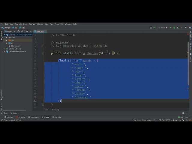 Java - 1 - Przetwarzanie napisu