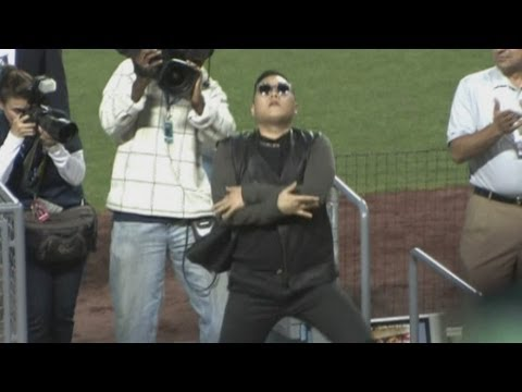 Psy: K-Pop star does the Gentleman dance at LA Dodgers game in Los Angeles