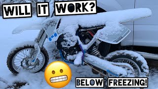 Fast Electric Pit Bike Snow Test in Sub Zero Temperatures - Electro & Co. EMX14