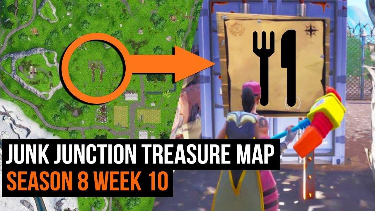 Fortnite Junk Junction Treasure Map Location Guide - Season 8 Week 9  Challenges