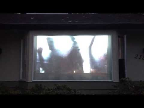 zombie halloween window projection