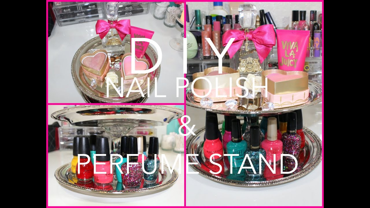 Diy cute nail polish and perfume stand for cheap cute for Cheap decorative items