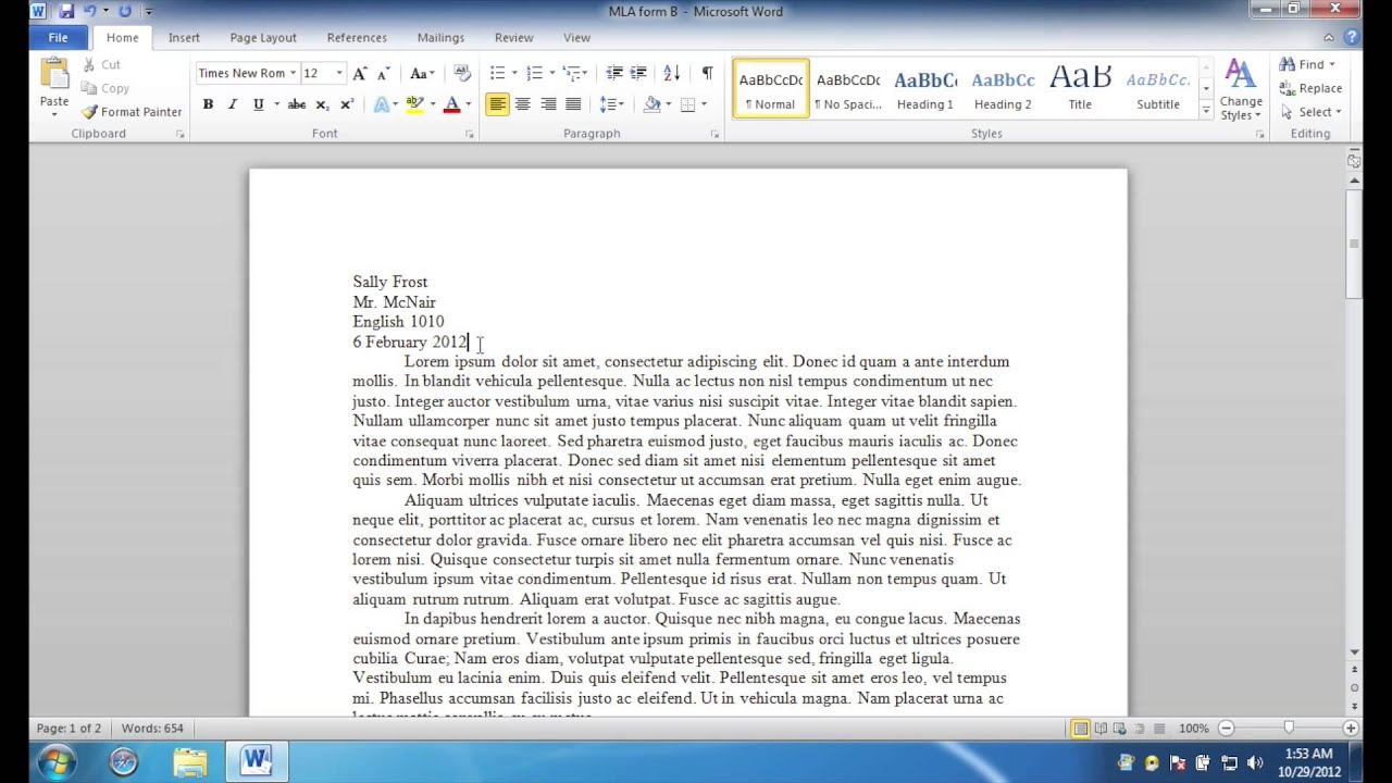 mla formatting microsoft word 2010 windows