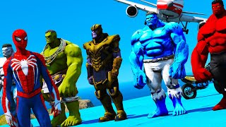Spiderman HULK moto challenge parkour Blue Hulk Red Hulk Grey Hulk Thanos Spiderman PS4 GTA 5