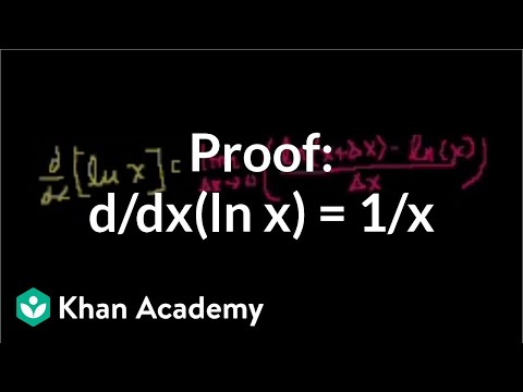 Proof: d/dx(ln x) = 1/x | Taking derivatives | Differential Calculus | Khan Academy