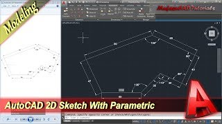 AutoCAD Design 2D Sketch With Parametric Tools Basic Modeling Tutorial