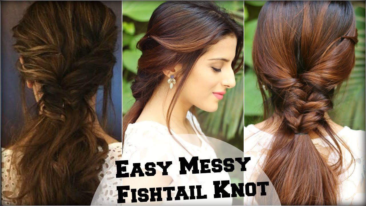 EASY Everyday Messy Fishtail Ponytail For School College Work - Hair colour deepika padukone
