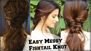 Download lagu EASY Everyday Messy Fishtail Ponytail For School College Work Deepika Padukone Indian Hairstyles MP3
