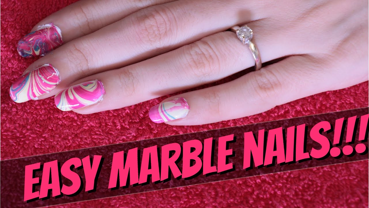 Easy Water Marble Nail Art For Beginners!!! - YouTube