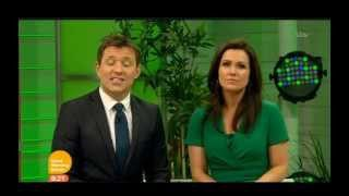 Susanna Reid wearing green Jeetly dress on ITV Good Morning Britain