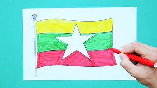 How to draw and color the National Flag of Myanmar