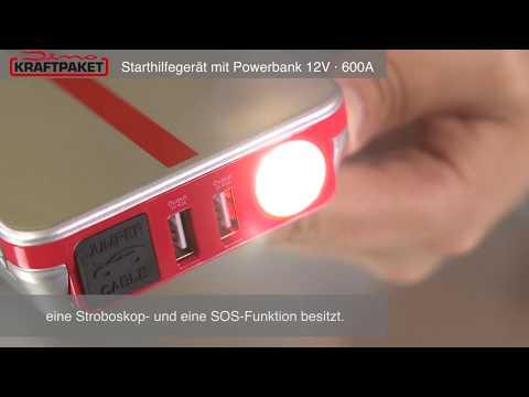 Dino Kraftpaket Starthilfegerat 12v 600a 66 6wh Starthilfe Mit Powerbank Led Lampe 136102 Youtube