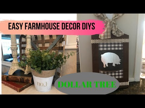 DOLLAR TREE FARMHOUSE DECOR// DOLLAR TREE DIY DECOR// DIY FARMHOUSE DECOR// BUDGET FRIENDLY DECOR