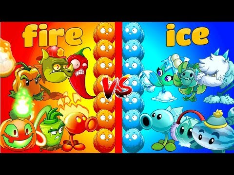Plants vs Zombies 2 Gameplay Best Fire Plants vs Ice Plants Team vs Team Primal Fight PVZ 2