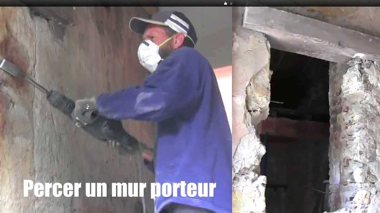 Mur porteur percer un mur how to drill a bearing wall to put a door youtube - Faire une fenetre dans un mur porteur ...