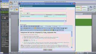 Faculty Access for the Web HTML Editor for Class Announcements