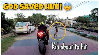 Terrifying Moment ! Kid about to hit by the Ninja H2 😱