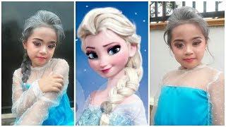 makeup anak frozen elsa, dan bajunya bikinan sendiri lo