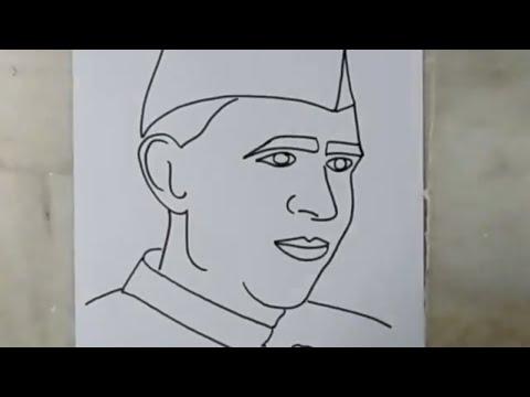 how to draw sketch of jawaharlal nehru | artistica