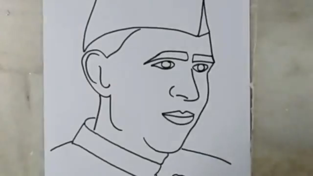 How to draw sketch of jawaharlal nehru artistica