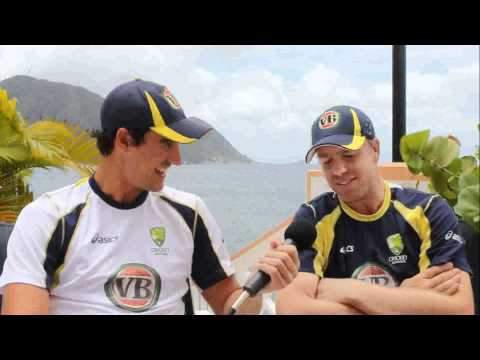 Mitch Starc with Michael Beer