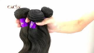 CACIN top quality virgin hair body wave 3 bundles, natural color