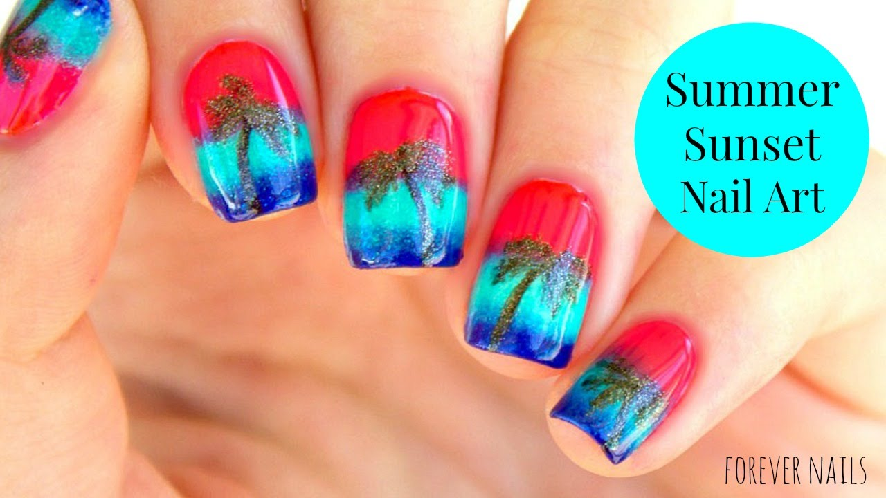 Summer Sunset Nail Art (Essie 2016 Summer Collection) - YouTube
