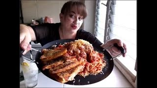 Cheesy Spaghetti & Meatballs with Garlic Bread | Mukbang
