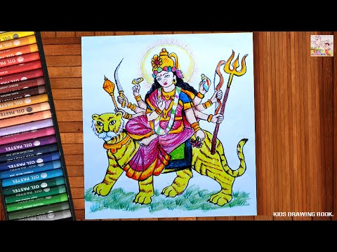 KIDS DRAWING BOOK!SIMPLE MATA VAISHNO DEVI DRAWING FOR KIDS! STEP BY STEP! HD NEW 2019