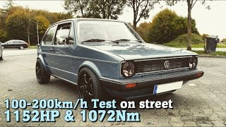 VW Golf MK1 4Motion 1152HP 100-200 test on street 2015