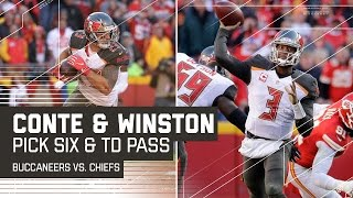 Chris Conte Picks Off Alex Smith & Jameis Winston Tosses the TD Pass! | Buccaneers vs. Chiefs | NFL