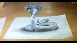 Anamorphic illusion, Drawing Snake 3D - Time Lapse