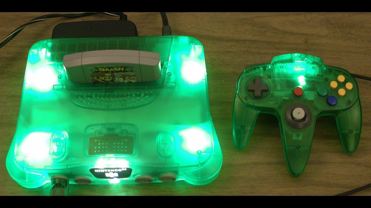 N64 Nintendo - LED modded translucent green console - YouTube