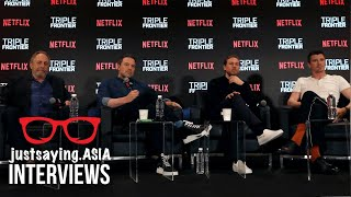 Triple Frontier Press Conference in Singapore with Ben Affleck, Charlie Hunnam and Garrett Hedlund