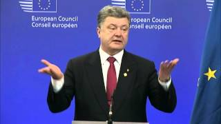 European Council- President Donald TUSK and Ukrainian President Petro POROSHENKO