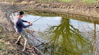 НАШЁЛ ЛУЖУ С РЫБОЙ и попробовал там половить Рыбалка во время половодья