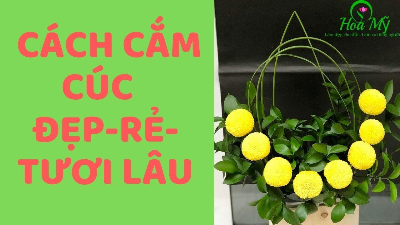Cách Cắm Hoa Cúc Đơn Giản Chỉ 8 Bông Ping Pong Vàng-Ai Cũng Làm Được