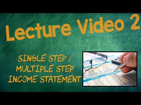 SINGLE STEP/MULTIPLE STEP INCOME STATEMENT - Lecture Video 2