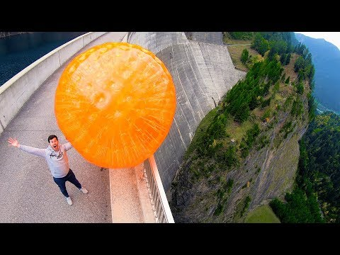 ZORB BALL MAGNUS EFFECT from 165m Dam!
