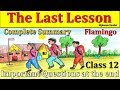 The Last Lesson | CH-1 | Last 7 year Question paper in description | Class 12th | Flamingo |In Hindi