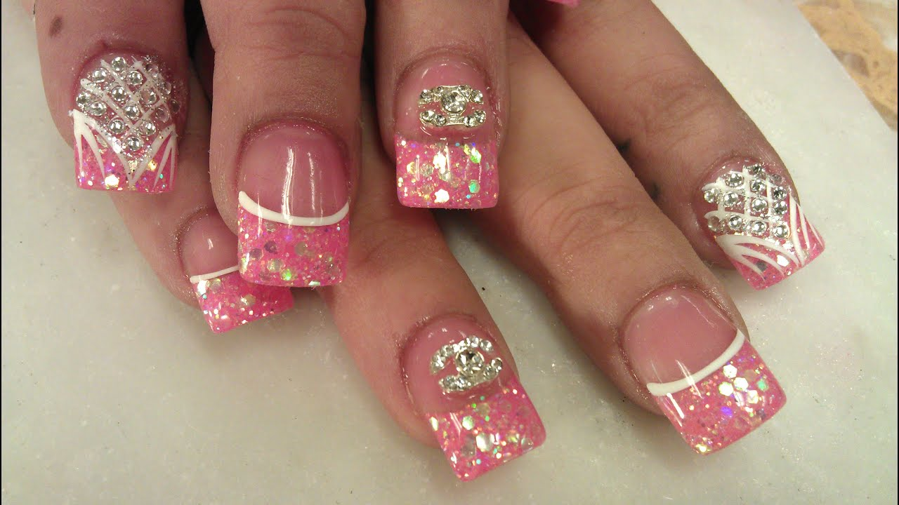 3d blush pink nail design part
