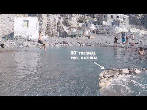 KOS  Natural hot springs at Therma Beach on Kos Island 50 degrees SO HOT