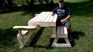 FULL SIZE Convertible Bench/Picnic Table by Mastroni Edge Woodcraft