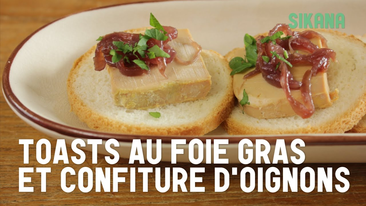 toasts au foie gras et la confiture d 39 oignons youtube. Black Bedroom Furniture Sets. Home Design Ideas