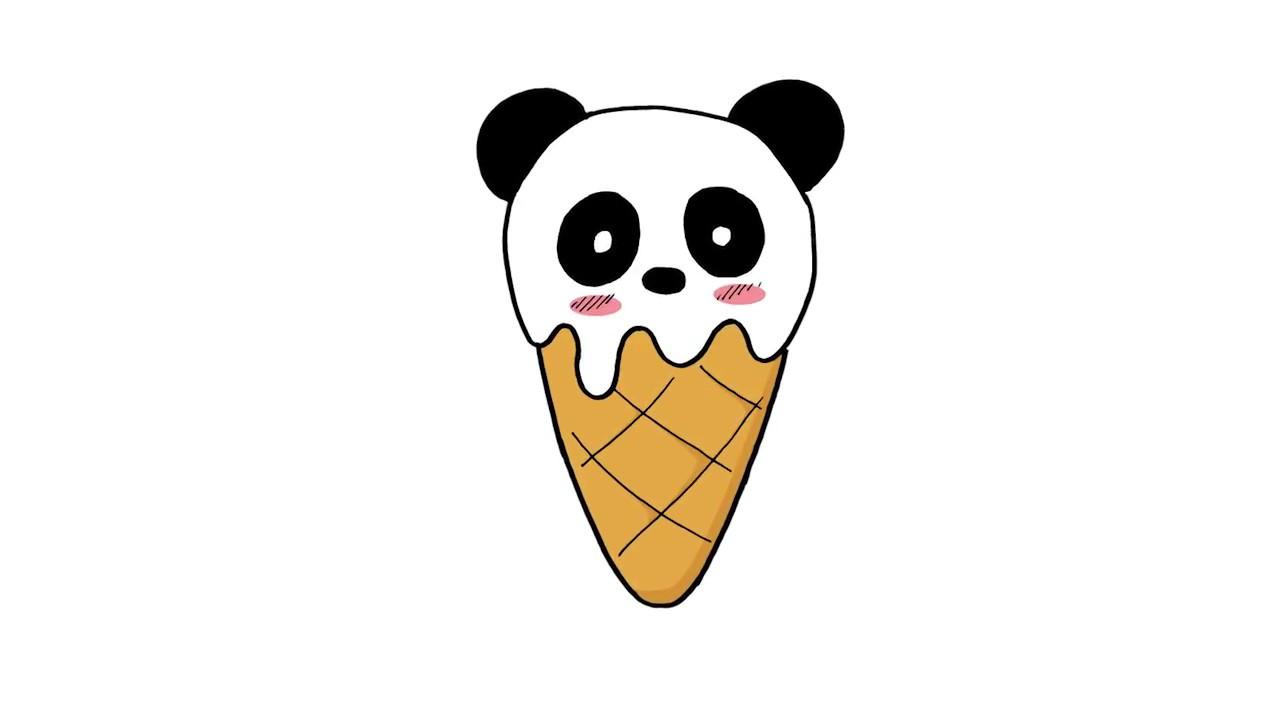 How To Draw A Cute Panda Ice Cream Como Dibujar Un Helado Panda