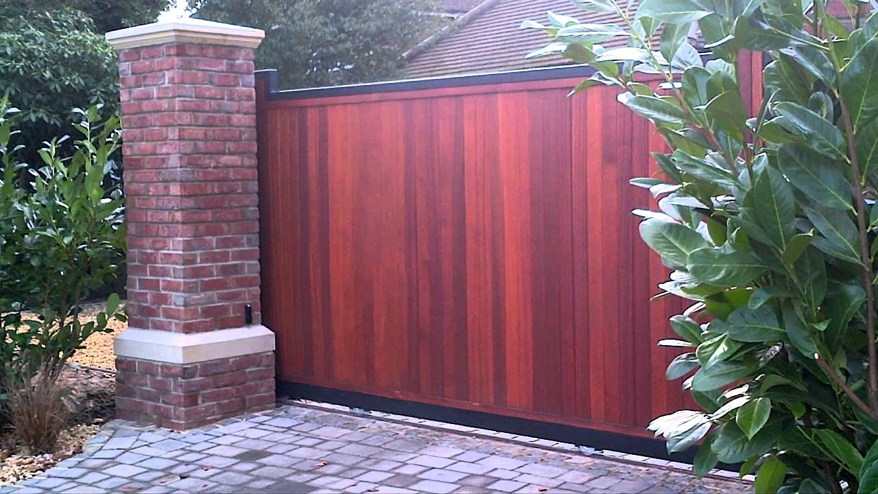 Electric Sliding Wooden Gate Youtube