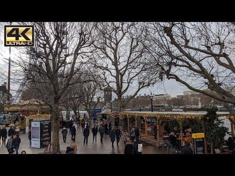 ⁴ᴷ London Christmas Walk - Parliament Square, London Eye To Southbank Christmas Winter Market Part 1