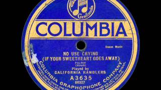 California Ramblers: No Use Crying (1922)
